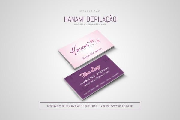 Criação de cartão de visita para a Hanami Depilação