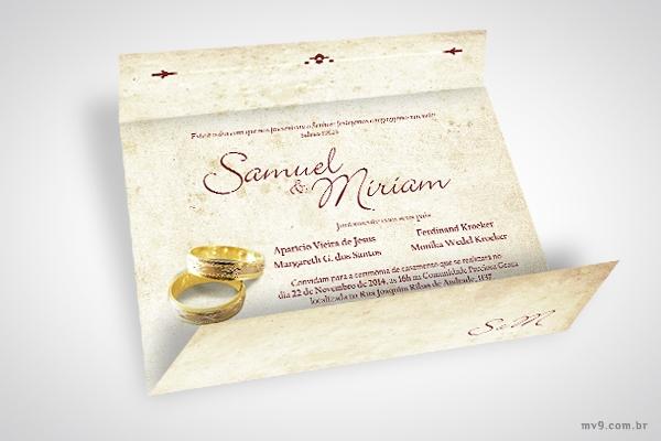 Criação de convite para o casamento do Samuel e Miriam